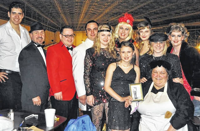 Darke County Civic Theater cast and crew after a recent performance. About 8-10 cast members take part in each Murder Mystery Dinner production.