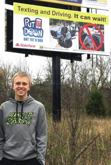 """Noah Hamilton's design was chosen as the winning art for a billboard contest, emphasizing the dangers of texting and driving. His art was the winner, out of about 40 Miami County High School students. """"Definitely do not text and drive,"""" Hamilton said. """"When people text and drive, teens are doing it more than adults. It seems like they are always texting their friends. It can wait."""""""