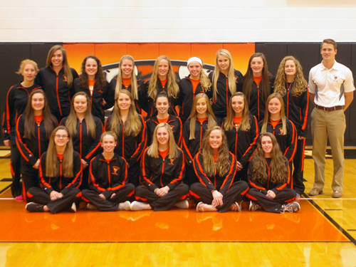 The Versailles girls swim team has 22 members this season. Pictured are (front row, l-r) Tori Ahrens, Kari Mangen, Payton Berger, Faith Wilker, Claire Keiser, (middle row, l-r) Morgan Frederick, Courtney Batten, Grace Francis, Bethany Jones, Lauren Menke, Alexis Jay, Deanna Day, (back row, l-r) Shelby Smith, Lauren Monnin, Kaia Kruckeberg, Kasidy Dross, Lucy Prakel, Taylor Cordonnier, Chloe Francis, Sara Cavin, Hannah Bey and head coach Mark Travis. Not pictured are Katelyn Rush and Melissa Gigandat.