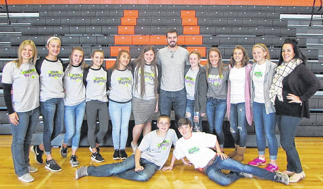 Arcanum-Butler Schools recently started a We are the Majority group, whose members were introduced at an assembly Tuesday. The group is under the facilitation of Prevention Specialist Kelly Harrison through Recovery and Wellness Centers of Midwest Ohio. The group is pictured here with Harrison, motivational speaker Logan Weber and Arcanum K-8 School Counselor Ashley Matheson.