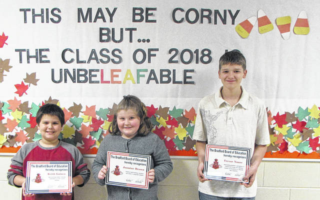 Bradford schools Student Spotlights went to from left to right: third-grade students Keith Gaines and Jasmine Brown, Middle School student Trevor Nance and High School student Noah Hamilton (not pictured).