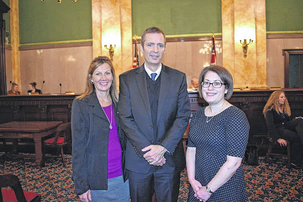 CBC provided testimony to the Senate Health, Human Services and Medicaid Committee for Ohio Blood Donor Awareness Month. Shown left to right are Botkins blood donor Susan Leugers, CBC Donor Relations Director Andrew Keelor, and Ohio Association of Blood Banks board member Dr. Elizabeth Biller.