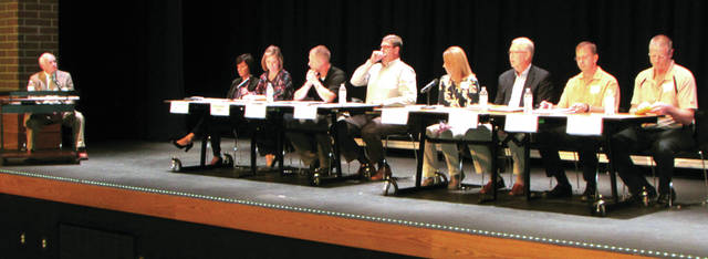 Versailles constituents were able to hear from the candidates, October 25, that are running for the Versailles Exempted Village Schools Board of Education in the upcoming election. From left to right: Moderator Dick Detrick, Traci L. Anthony, Christopher S. Leach (Amy Carman sitting in), Matt Magoto, incumbent Tom Ording, Ruth A. Peters (Amy VanSkyock sitting in), incumbent Jim Raterman, Tony Rose and Jerry Shardo.