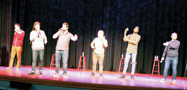 """DCCA presented award-winning """"a capella"""" vocal group Six Appeal to area students, yesterday. Pictured from left to right are: Andrew """"Berko"""" Berkowitz, vocal percussionist; Reuben Hushagen, bass; Jonathan Thalmann, baritone; Michael Brookens, mid-tenor; Trey Jones, low tenor and Jordan Roll, high tenor."""