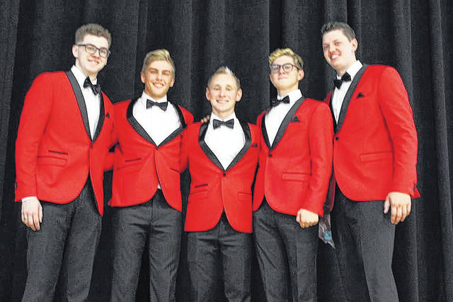 """Local barbershop group The Quintessentials traveled to Orlando, Florida, in November to audition for the television show """"America's Got Talent."""" They'll find out in January if they've been selected to move on to the next round of auditions. (Pictured, from left to right: band members Mitchell Rawlins, Brody Hyre, Kyle Wuebker, Quincy Baltes, and Isaac Buschur)."""