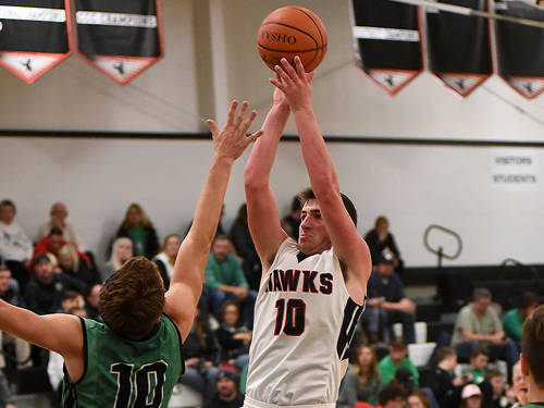 Mississinawa Valley's Ethan Bowman puts up a shot during a Cross County Conference boys basketball game against Bethel on Dec. 8 in Union City.