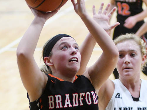 Bradford's Hannah Fout takes a shot during a Cross County Conference girls basketball game against Covington on Monday in Covington.
