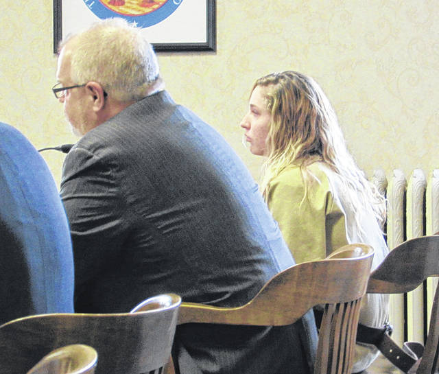 Samantha Thomas (right) was among a number of defendants who received sentences Monday in Darke County Common Pleas Court.