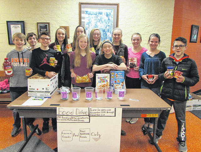 Friday, December 1, was the last day for the Ansonia Junior High/High School Student Council Food Drive. Pictured from left to right: Jackson Shellhaas, Landyn Gabriel, Connor Schmit, Neleh Schlarman, Cierra Rosinski, Rebekah Prasuhn, Alyssa Noggler,Madisyn Esser, Kylee Winner, Kenzie Singer, Meghan Brown and Gavin Kelch.