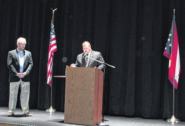 State Representative Keith Faber (84th District), was the featured speaker Tuesday, at Versailles High School Auditorium. He spoke to John Jackson's government class. Pictured from left to right: Faber and Jackson.