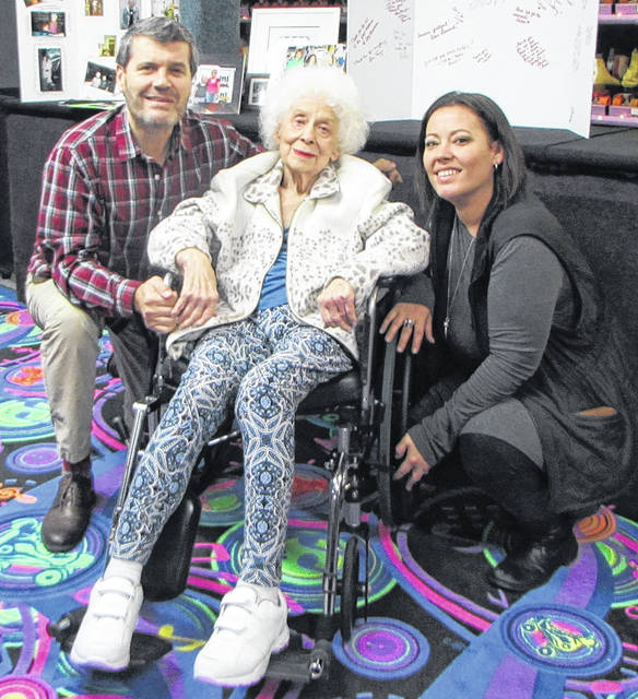 """A night celebrating former owner of the Greenville Roller Rink/Skate Place, Hazel Mercer, took place Wednesday, at the roller rink. Alishia Funk and her dad Alan Leonard took ownership of The Skate Place August 1. Pictured from left to right: Leonard, Mercer and Funk. """"This is a big deal, celebrating Hazel, and showing thanks for the years and years of providing a safe place for kids to go,"""" Funk said."""