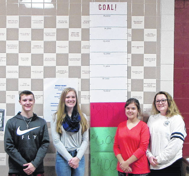 The Tri-Village student body and staff is working towards the schools' Christmas Adopt-a-Family fundraiser goal of $15,000. The schools have adopted 16 families; the most they have ever adopted. Pictured from left to right Tri-Village senior student council members: Trey Frech, Alana Holsapple, Brittany Brewer and Lauren Flory.