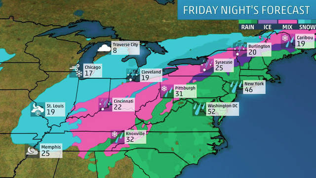 """Image courtesy of The Weather Channel According to Weather Channel Winter Weather Expect Tom Niziol, Ohio will be hit by phase three of what they are calling """"Winter Storm Hunter"""" this weekend."""
