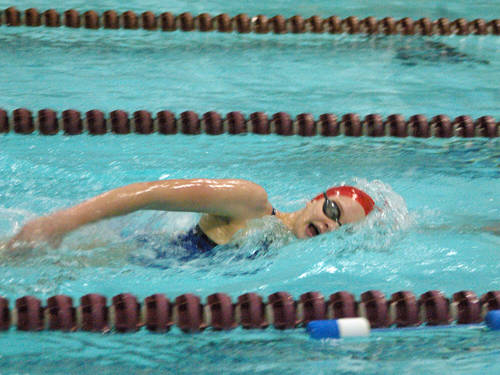 Tri-Village's Edie Morris swims in the girls 200 yard freestyle on Dec. 15 at the YMCA of Darke County in Greenville.