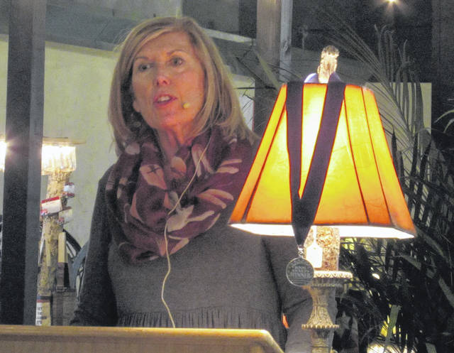 Author Dana Brown appeared at Montage Cafe Friday as the featured guest of Author's Night, a seasonal event arranged by the Friends of the Greenville Public Library.