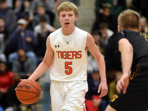 Versailles' Michael Stammen dribbles the ball up the court during a Flyin' to the Hoop boys basketball game against Sidney on Jan. 14 at Fairmont's Trent Arena in Kettering.