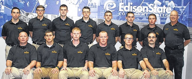 Edison State's thirty-fifth Police Officer Academy students were honored during a ceremony in December. Pictured: Back Row from left to right: Cody Williams of Piqua; Charles Graves of Piqua, Coltin Stump of Greenville, Cody Ferguson of Sidney, Jordan Hamlin of Troy, Nicholas Kelch of Sidney, Brock Boyter of Greenville, Commander Joseph Mahan; Front Row from left to right: Richard Archer of Celina, Thomas Combs of Piqua, Anthony Hickman of Sidney, Justin Daniel of Covington, Austin Knight II of Sidney and Colin Lamprecht of Dayton.