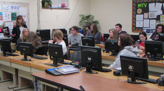 Greenville City School District's Career-Tech Interactive Media (IMTV) Program Instructor Lori Hoover teaching her senior class.