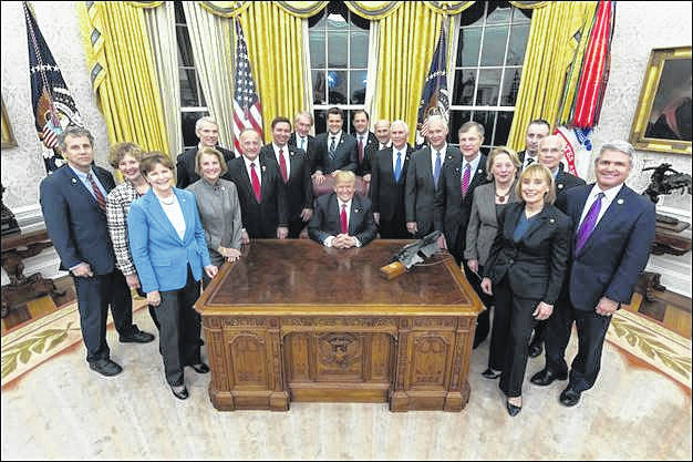 Official White House photo courtesy of Joyce N. Boghosian U.S. Sen. Sherrod Brown joined President Trump at the White House as Trump signed Brown's bill, the INTERDICT Act, into law.