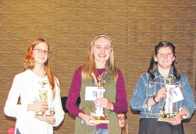 The Winner and Runners-up of the 2018 Darke County Spelling Bee include, from left to right: Third Place Savannah Crist of Franklin Monroe Elementary, Second Place Kylee Winner of Ansonia Junior High and First Place Hannah Kendig of Arcanum-Butler Middle School.