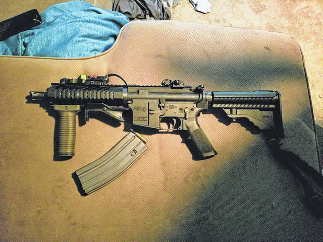 Union City, Indiana Police recovered an AR-15 semiautomatic rifle (shown) fired by Bobby L. Johnson in an attempt to distract officers arresting his brother, Michael D. Johnson, following a vehicle pursuit. Both men were placed into custody and transported to the Randolph County Jail.