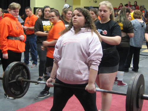 Tri-Village's Cassidy Ditty competes in the deadlift during a powerlifting meet on Saturday at Springfield Shawnee.