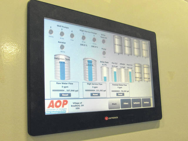 Sam Wildow | AIM Media Midwest The new control panel inside of Bradford's new Water Treatment Plant.