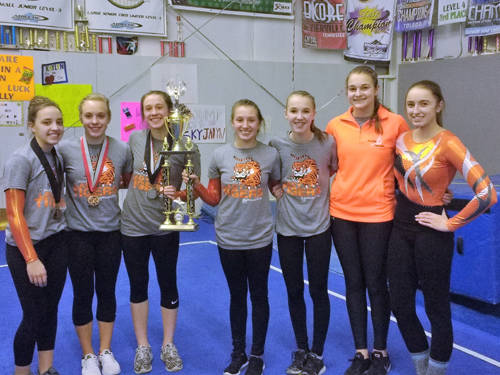 The Darke and Shelby County high school gymnastics team competed at the Troymont meet. The Versailles girls finished as the meet runner-up.