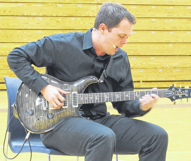 Musician and performer Chase Padgett played to an audience of students at Franklin Monroe High School Wednesday afternoon. The show was organized by the Darke County Center for the Arts (DCCA).
