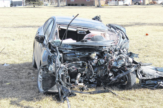 A black four-door Chevrolet Cruze LT collided head-on with a Harvest Land Co-op tanker truck Friday afternoon. The driver of the Chevrolet was ejected through the front windshield and transported to the hospital via CareFlight.