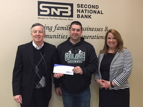 The Greenville Girls Softball Association will add two new ball diamonds to Stebbins Field with the support of Second National Bank. Pictured (l-r) are John Swallow, president and CEO of Second National Bank; Eric Fellers, president of Greenville Girls Softball Association; and Joy Greer, vice president of Second National Bank.