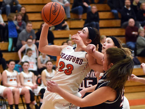 Bradford's Skipp Miller puts up a shot during a Cross County Conference girls basketball game against Mississinawa Valley on Jan. 25 in Bradford.