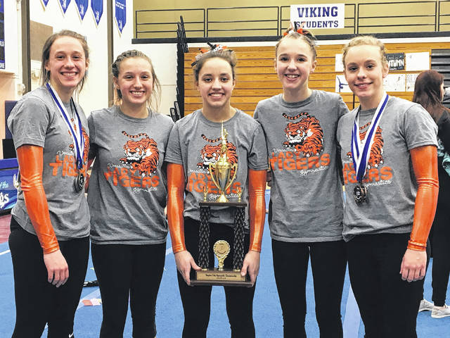 The Versailles gymnastics team finished as the runner-up at the Dayton City Championships on Saturday at Miamisburg. Pictured (l-r) are Jadyn Barga, Jorja Pothast, Ellie Barga, Jayla Pothast and Madison Ahrens.