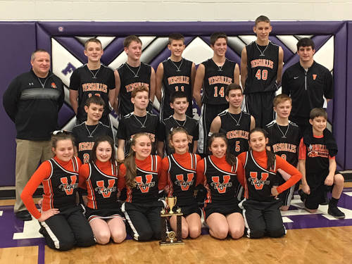 The Versailles eighth grade boys basketball team beat Coldwater on Saturday to win the Midwest Athletic Conference championship.