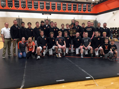 The Versailles wrestling team will compete in the Ohio High School Athletic Association state wrestling dual team tournament beginning at 11 a.m. Sunday at The Ohio State University's St. John Arena in Columbus.