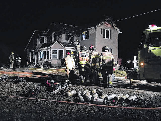 Firefighters from Darke and Preble Counties battled a fire Monday morning at the 1400 block of Preble County Butler Township Road. The cause of the fire is being investigated.
