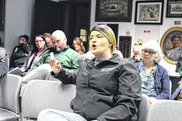 A room full of concerned parents attended Thursday's Greenville Schools Board of Education meeting, expressing concerns on a number of issues. Robyn Moore-Newberry (shown) asked the board to clarify its policy on student bathroom usage, following a recent incident involving her daughter.