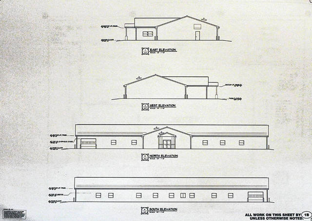 Preliminary architectural drawings of a proposed village hall for Arcanum. If funding comes through, the structure could be completed by February 2019.