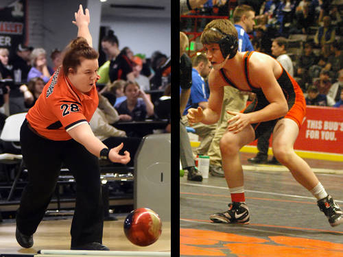 Versailles girls bowler Morgan Barlage and Arcanum wrestler Ethin Hoffman have been named this week's Daily Advocate athletes of the week. To nominate a Darke County athlete for athlete of the week, contact Sports Editor Kyle Shaner at 937-569-4316 or kshaner@dailyadvocate.com.