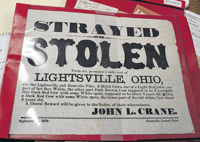 A September 27, 1879, notice posted by a Lightsville, Ohio, man seeks return of his three milch cows — just one example of many documents which are still retained by the Darke County Clerk of Courts Office.