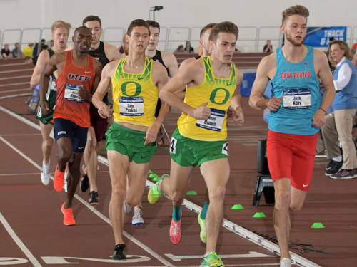 University of Oregon senior Samuel Prakel, a Versailles High School alumnus, runs in the finals of the men's mile at the 2018 NCAA indoor track and field championships on Saturday at Texas A&M University. Prakel finished third in a time of 3:58.59.