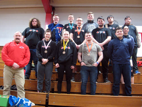 The Tri-Village powerlifting team competed at the state meet on Saturday at Kenton. Pictured are (front row, l-r) coach Tracy Brown, Marissa Roark, Holly Back, Aaron Stewart, Nick Varvel, (back row, l-r) Ian Bailey, Dylan Holsapple, Blake Brandenburg, Foster Brown, Chance Davis, Elijah Driver, Hunter Gillett, Jacquie Gibboney and Dillon Plush. Not pictured are Lissa Siler and Lauren Banis.