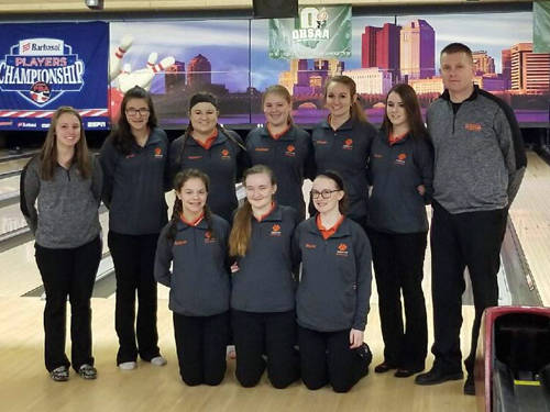 The Versailles girls bowling team reached the semifinals of the Ohio High School Athletic Association Division II state tournament on Saturday at Wayne Webb's Columbus Bowl in Columbus.