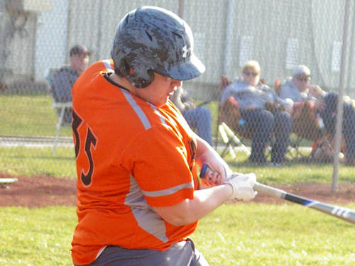 Ansonia's Caleb Jones hits a pitch during a Cross County Conference baseball game against National Trail on Thursday in Ansonia.