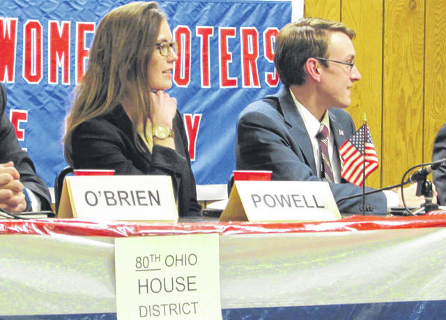 Ohio House candidates Jena Powell, of Greenville, and Travis Faber, of Celina, took part in the Darke County League of Women Voters' Candidates Night forum Monday.