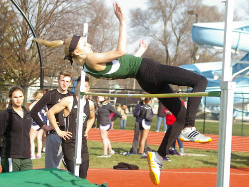 Greenville's Emma Klosterman competes in the girls high jump during a dual meet against Piqua on April 11 in Greenville.