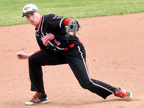 Mississinawa Valley's Ethan Bowman fields a grounder during a Cross County Conference baseball game against Franklin Monroe on Saturday in Union City.