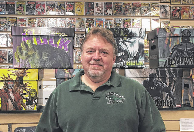 Gib Bickel graduated from Greenville High School in 1979, and still frequently wears a Green Wave t-shirt at the comic book store he runs in Columbus.