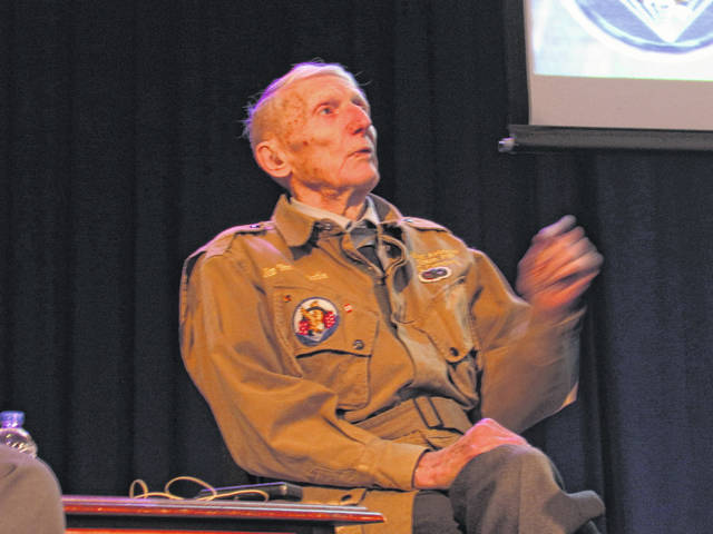 """World War II veteran Jim """"Pee-Wee"""" Martin told tales of his exploits in the service during a special appearance at Henry St. Clair Memorial Hall Saturday afternoon."""