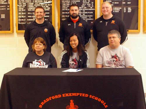 Bradford senior Maia Stump committed to the Indiana University East track and field team on Monday afternoon.